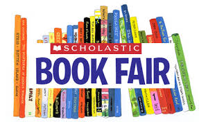 line of books with text scholastic book fair
