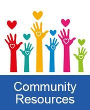 colorful hands with hearts about blue box with the words community resources