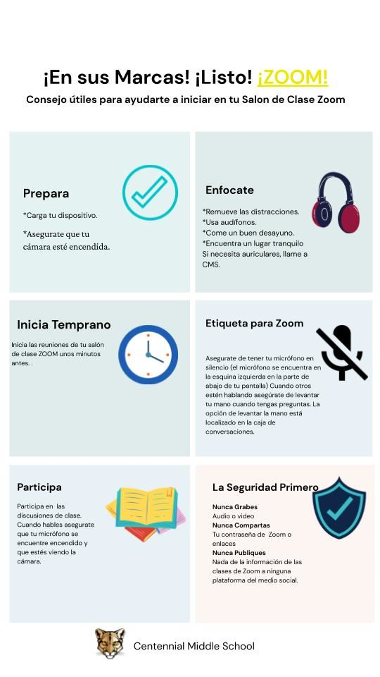 Zoom tips for online classroom Spanish